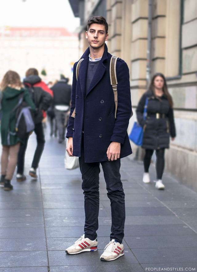 CUTE GUY NICE STYLE: PEA COAT AND A BACKPACK – Fashion Trends and