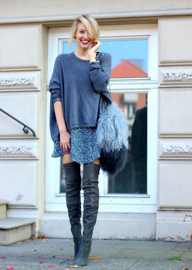 Here are few chic outfits with #overthekneeboots to answer winter style dilemma