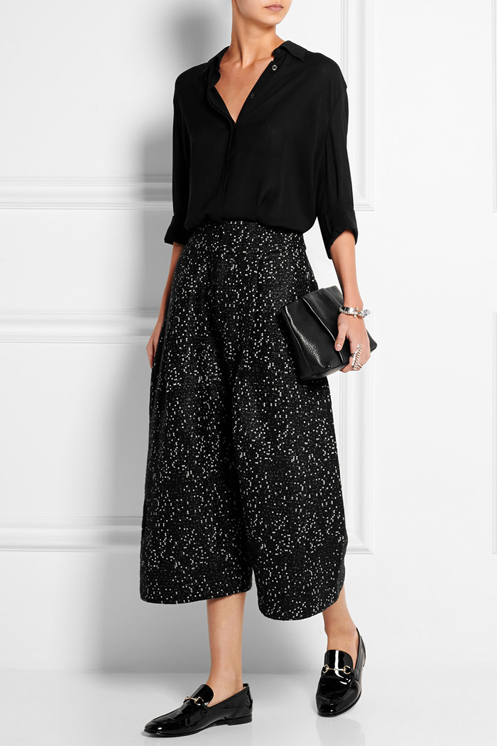 Wear to Work: Culottes, Studio Nicholson's black bouclé culouttes are flecked with silver threads for a lustrous finish