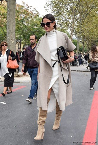 People and Styles Fashion Street Style look Paris Fashion Week Chic Blogger Look Zina Charkoplia Fashionvibe wearing Tibi reversible wool and angora-blend coat and Saint Laurent Monogramme Sac Université