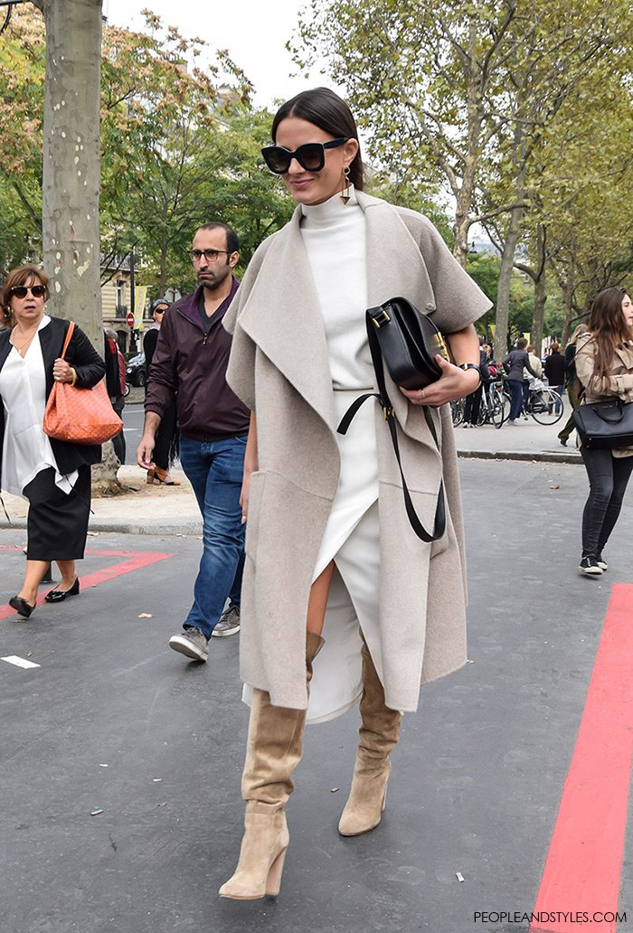 How to wear over the knee boots with a skirt and a turtleneck, People and Styles Fashion Street Style look Paris Fashion Week Chic Blogger Look Zina Charkoplia Fashionvibe wearing Tibi reversible wool and angora-blend coat and Saint Laurent Monogramme Sac Université