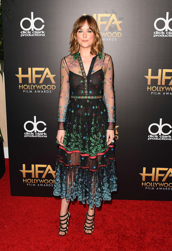What to wear to corporate Christmas party, Dakota Johnson wearing Gucci sheer dress