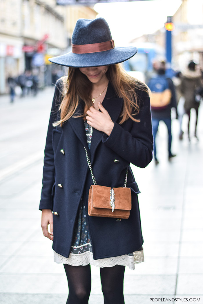 How To Wear: Navy Pea Coat and Fedora Hat