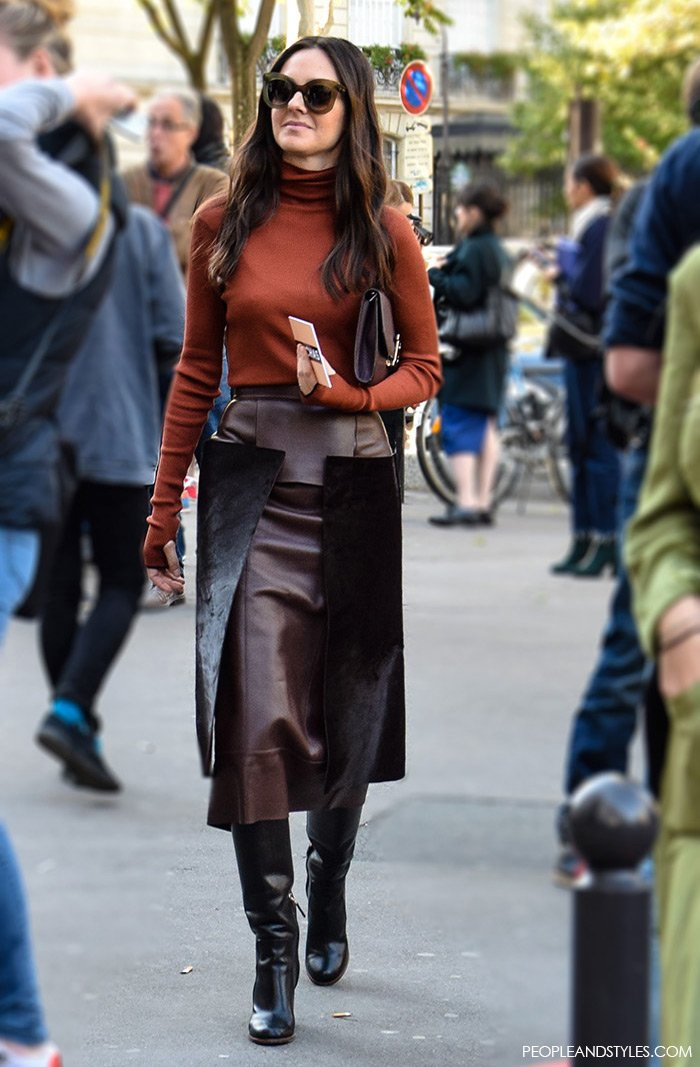 Elegant Office Look with Leather Skirt and Turtleneck