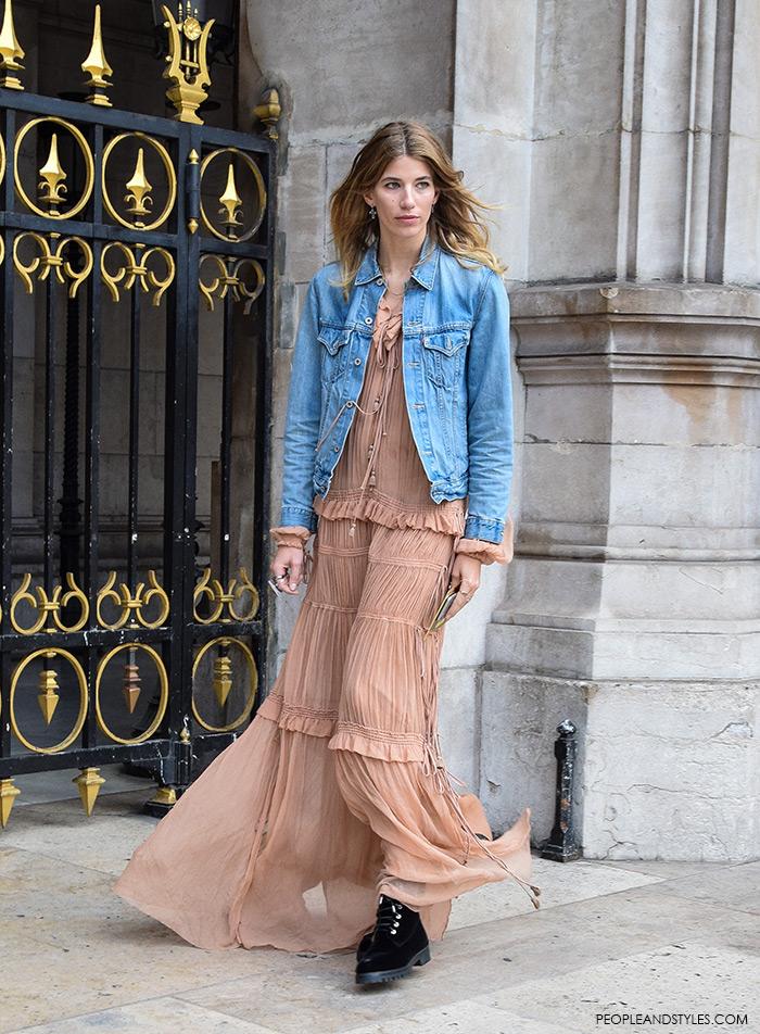 Street Look: Sweet Veronika Heilbrunner Wearing Chloé Plissé Silk-chiffon Maxi Dress