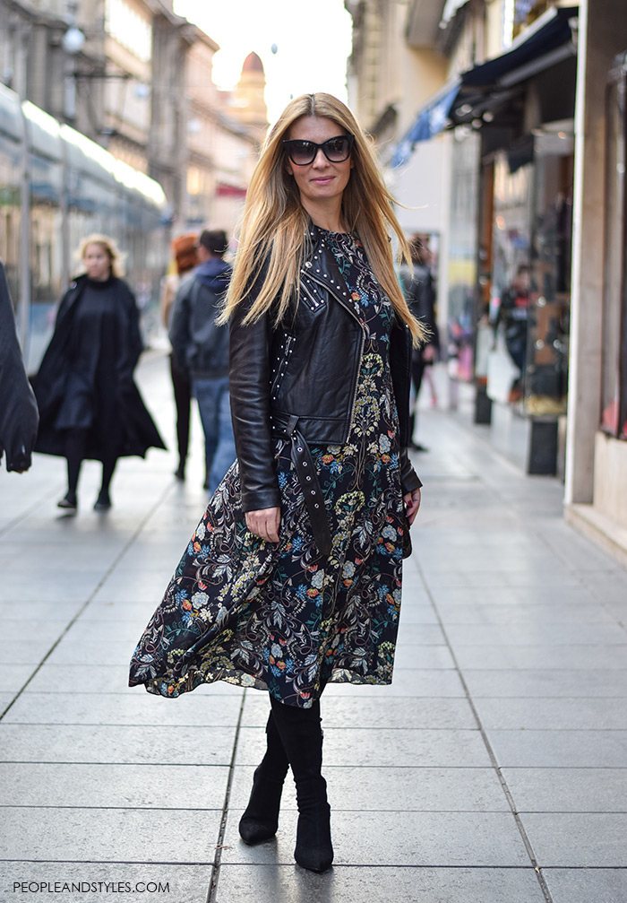 Street style look midi dress from Zara, leather biker jacket and mid heel pointed boots, wear to work