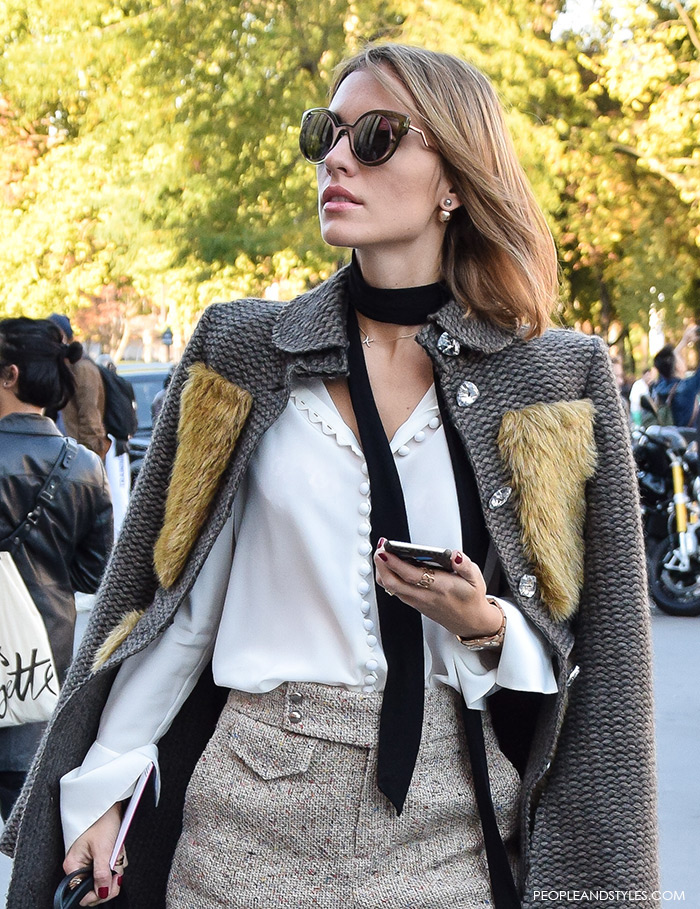 how to wear Chloe silk crepe de chine blouse with exaggerated cuffs and a contrasting black neck tie, street chic look