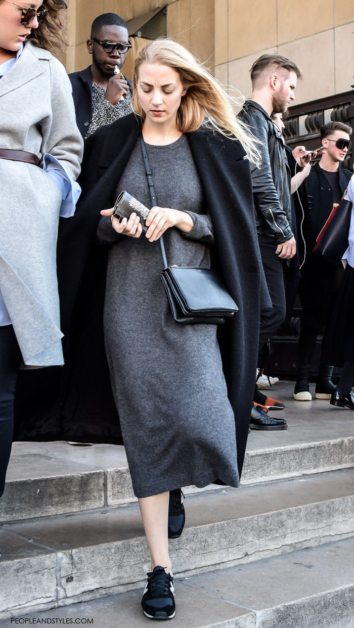 Grey outfits pinterest, How to Wear: Coat and Sneakers, midi knitted grey dress, winter dressing in sneakers,street fall winter spring fashion seen in Paris