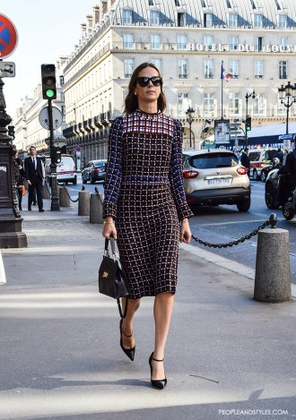 street style Paris, Marni midi dress, stylish inspirations by PeopleandStyles.com
