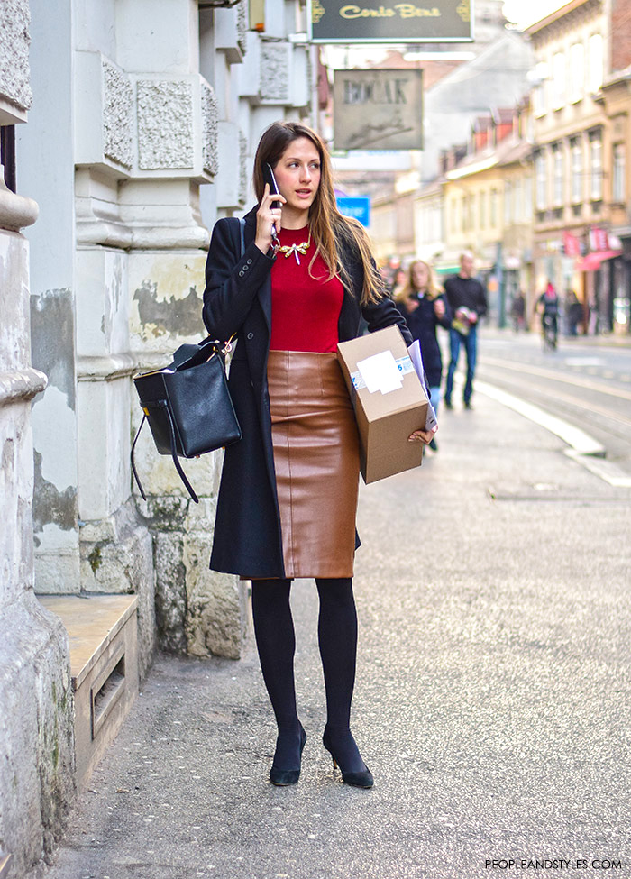 wear-to-work-leather-pencil-skirt-street-style-outfit ...