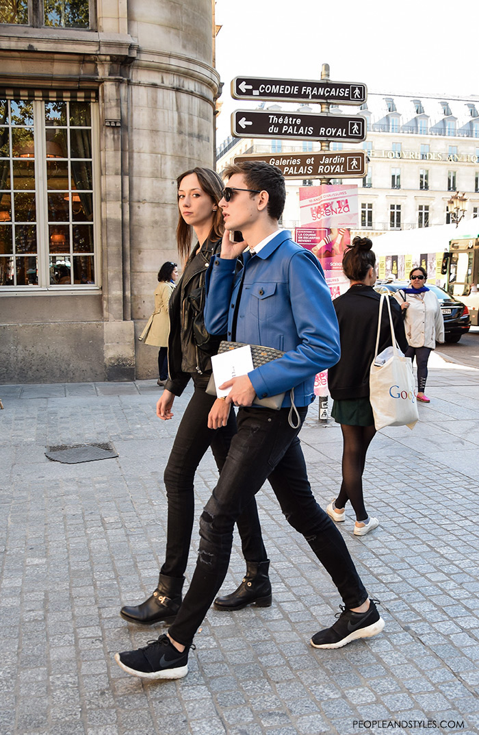 What urban couples are wearing, what are people wearing in paris? street style Paris, guys's outfit with black Nike sneakers, black jeans and blue leather jacket, men's style fashion images Pinterest