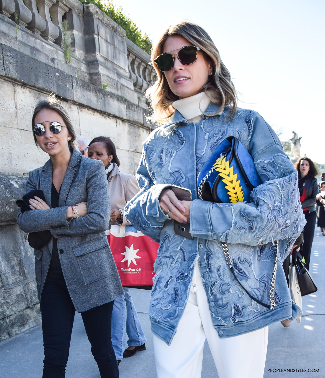 Get Helena Bordon look: white culottes, oversized embellished denim jacket and silver pumps, Paris Fashion Week spring summer 2016, street style outfit