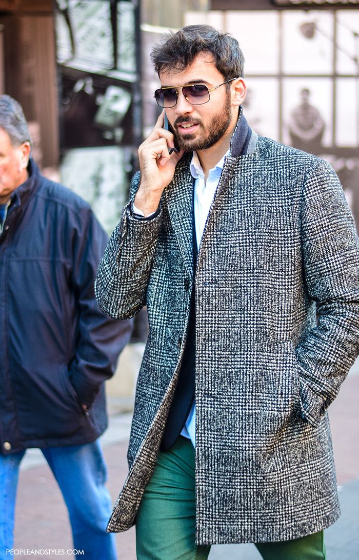 Casual Winter Outift: Men Wearing Overcoats #mensfashion #menswear by PeopleandStyles.com