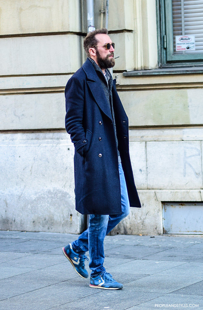 Guys casual winter fashion pinterest, what to wear with a wool coat, how to vear navy longer coat, cardigan and sneakers, how to wear light blue sneakers men, how to wear sneakers men pinterest