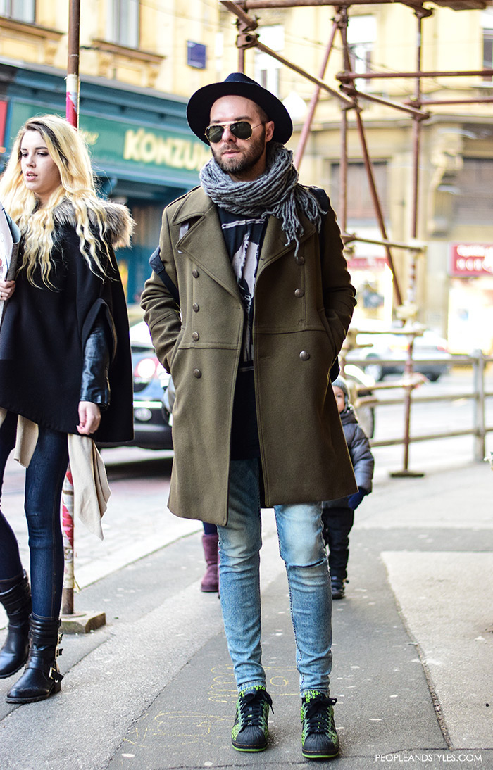 Guys casual winter fashion, what to wear with a wool coat, how to wear green military coat and sneakers, how to wear adidas sneakers men pinterest
