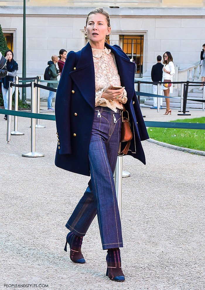 How to wear a peacoat, women's fashion, Paris Fashion Week street style outfit, Elizabeth von Guttman wearing Chloe lace top, pea cot, Chloe shoulder bag, cropped wide leg pants and ankle boots. Elizabeth von Guttman, founder of System Magazine and Ever Manifesto