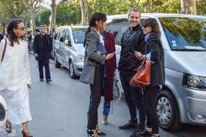 Street Style Fashion Moment: Natasha Goldenberg, Evangelie Smyrniotaki & Irina Lakicevic by PeopleandStyles.com