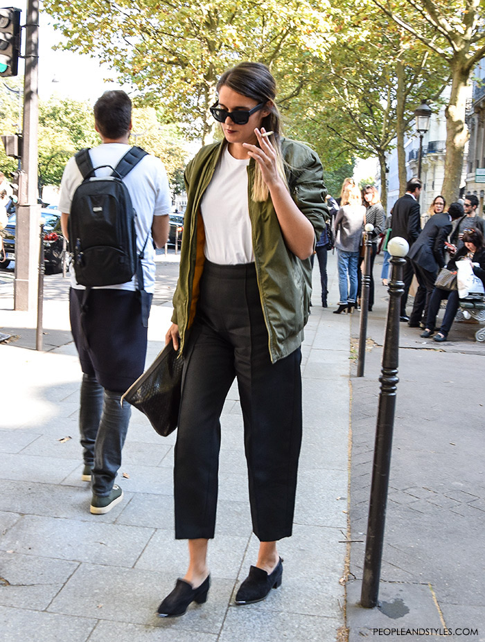 How to wear green bomber jacket and culottes, urban look with bomber jacket, street style fashion inspiration from streets of Paris, Paris Fashion Week Spring Summer
