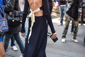 Christine Centenera wearing Celine backless knit dress, street style look by PeopleandStyles.com