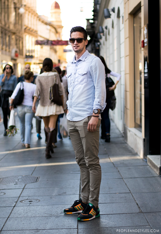 Daily Style Chinos Denim Shirt And Sneakers Fashion Trends And Street Style People Styles