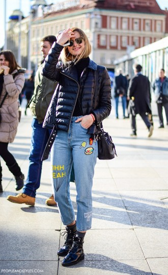 Street Look: Embroidered Jeans and Biker Jacket by PeopleandStyles.com