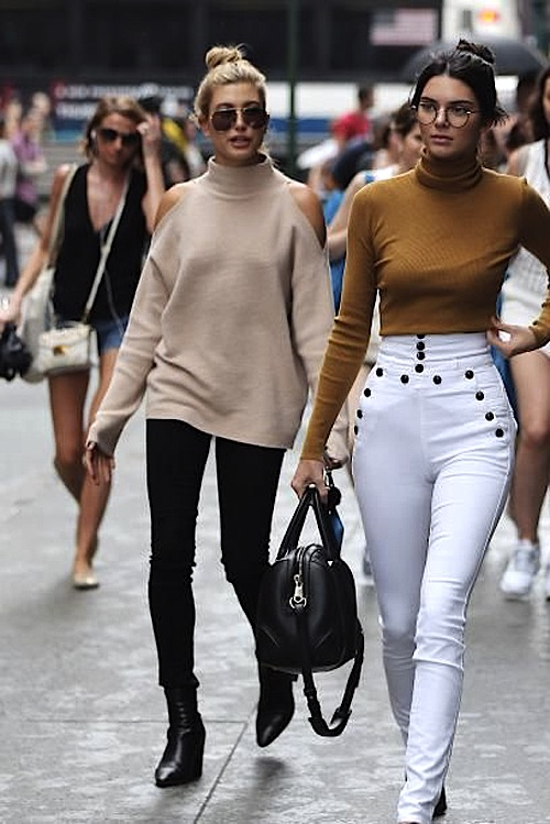How to wear cold shoulder trend, Hailey Baldwin style and Kendall Jenner