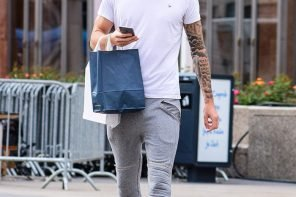 Casual Mens Look: Grey Joggers and Cool Sneakers by PeopleandStyles.com