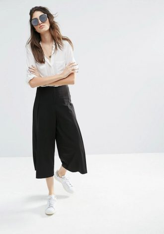Perfect Pair: Culottes and Button Down Shirt by PeopleandStyles.com
