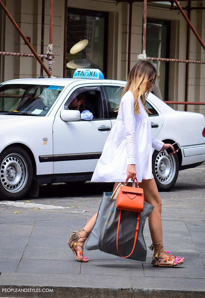 gladiator sandals street style outfit dress, Elina Linardaki fashion designer handmade Greek sandals, how to wear white mini dress and mega popular Greek gladiator sandals, fashion styling tips, perfect outfit, street fashion PeopleandStyles, street style summer pinterest