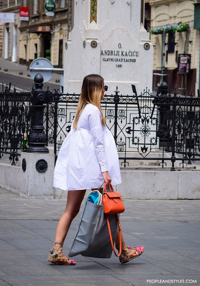gladiator sandals street style outfit dress, Elina Linardaki fashion designer handmade Greek sandals, how to wear white mini dress and mega popular Greek gladiator sandals, fashion styling tips, perfect outfit, street women's fashion PeopleandStyles, street style summer pinterest