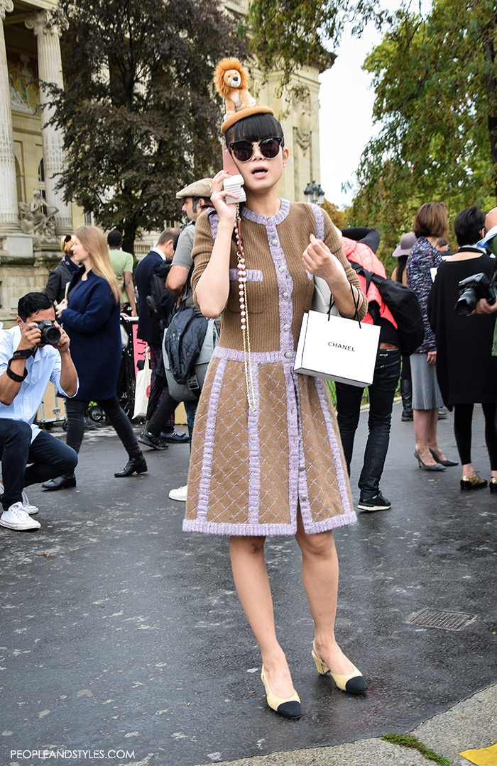 Leaf Greener in Chanel wearing Chanel Granny Slingbacks , They are Wearing Chanel Granny Slingbacks. Street style outfits from Paris Fashion Week, Pinterest paris people street images