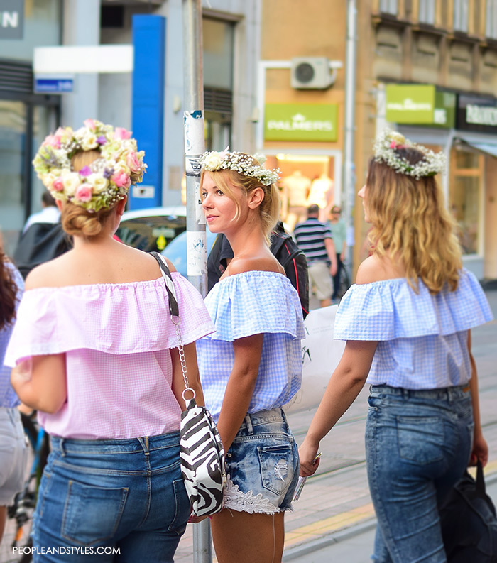 Adorable Street Style Look: Off the Shoulder Top and Flower Garland