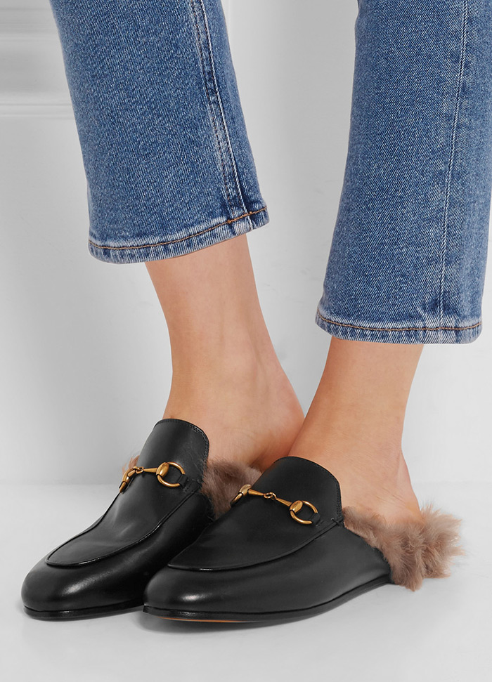 fashion style girl simple, Gucci shearling-lined fur leather slippers, most wanted shoes pre fall 2016, street style fashion