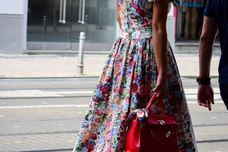 Street Stunner in a Beautiful Flower Dress by PeopleandStyles.com