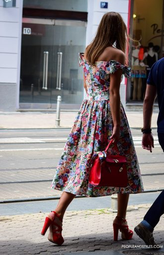 Street Stunner in a Beautiful Flower Dress by PeopleandStyles.com
