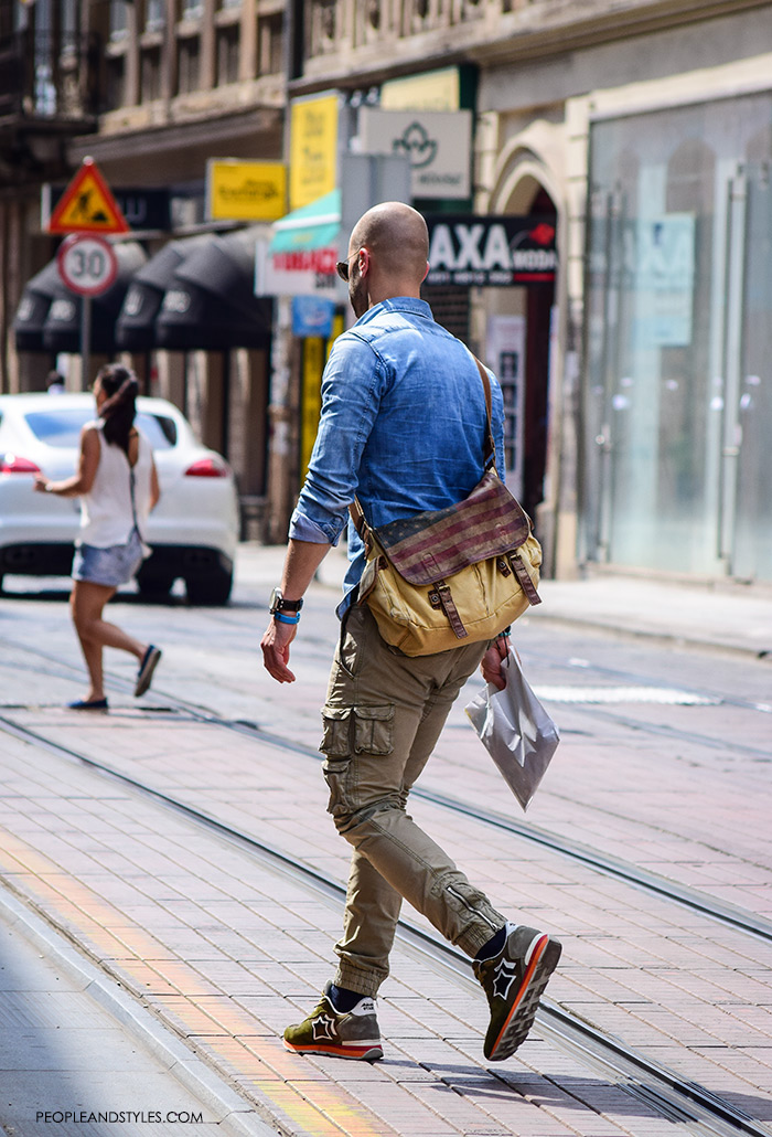 best men casual fashion wear, urban street fashion men, man's fashion street style summer outfit, chinos and denim shirt, handsome man