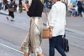 Street Style Chic: Metallic Pleated Skirts