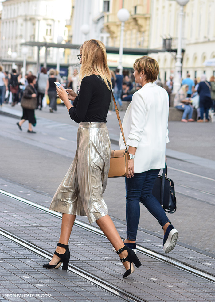 how to wear stylish street style looks with metallic pleated skirts