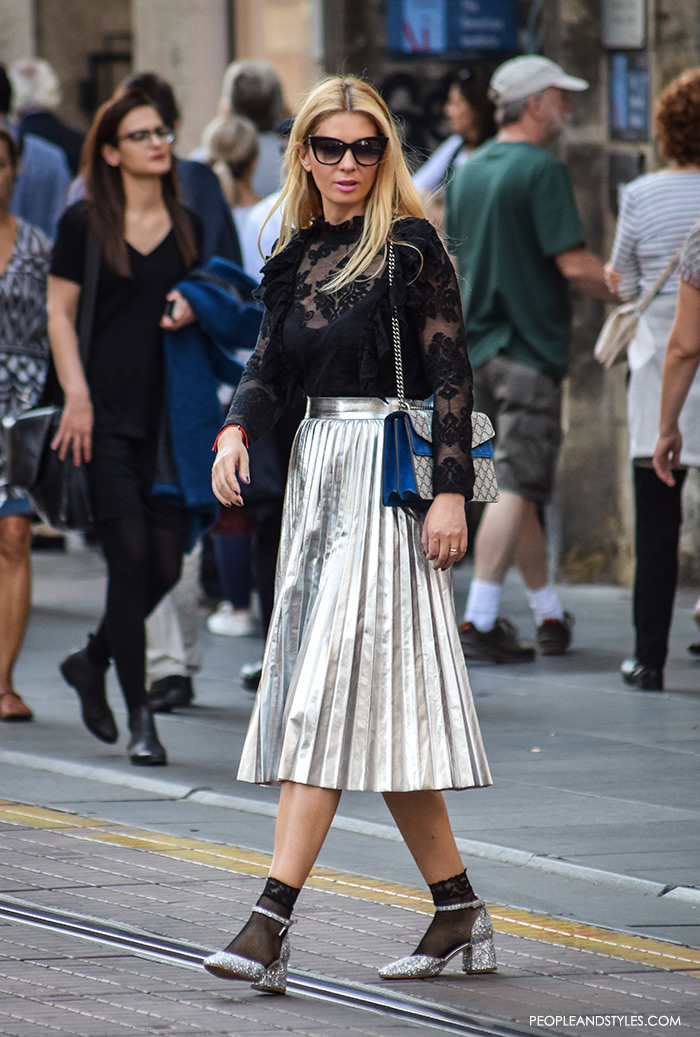 how to wear stylish street style looks with metallic pleated skirts, Gucci bag