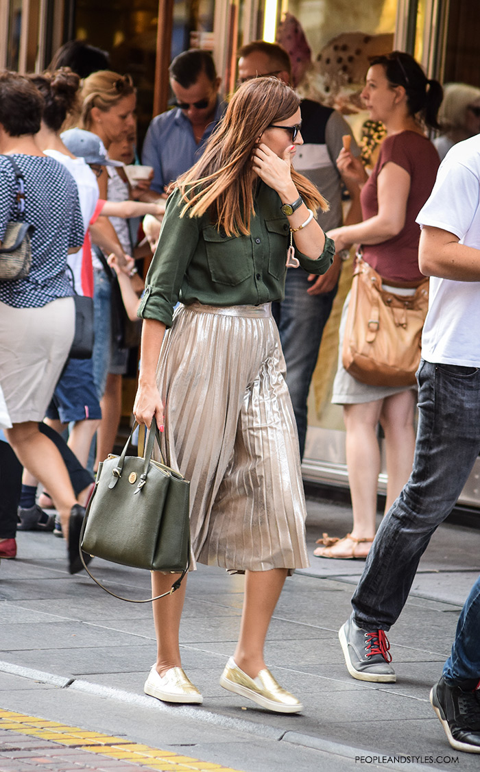 how to wear stylish street style looks with metallic pleated skirts and golden sneakers