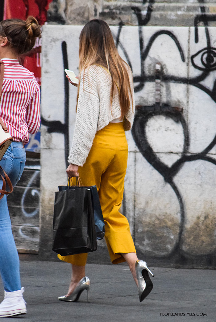 Yellow culottes paired with cropped jumper and silver pumps, women's fashion, street style outfit inspiration