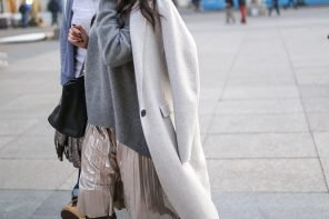 Perfect Pair: Grey Metallic Pleated Skirt and Grey Cosy Sweater
