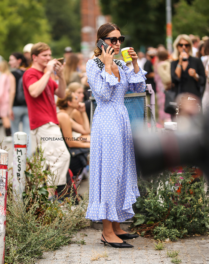 Get This Street Style Look: Freesia Ruffled Printed Voile Midi Dress